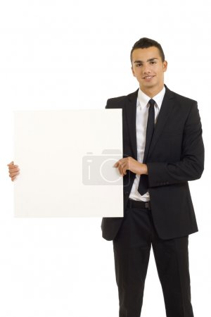 Young man with white board