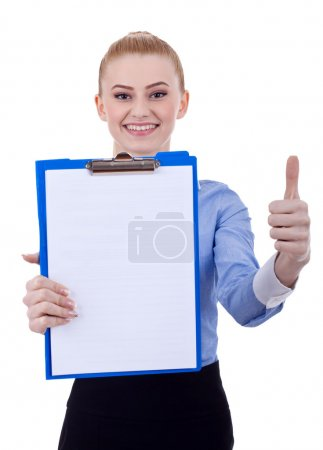 Business woman with clipboard and thumbs up