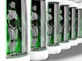 Female robots standing in sleeping chambers.