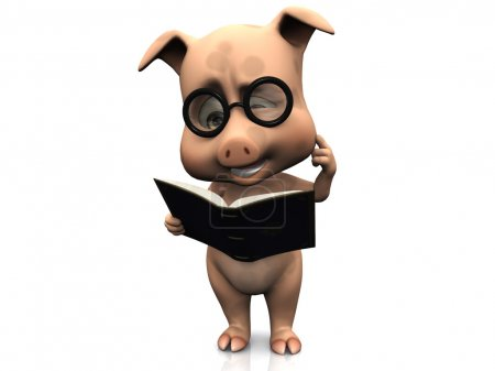 Cute confused cartoon pig holding a book.