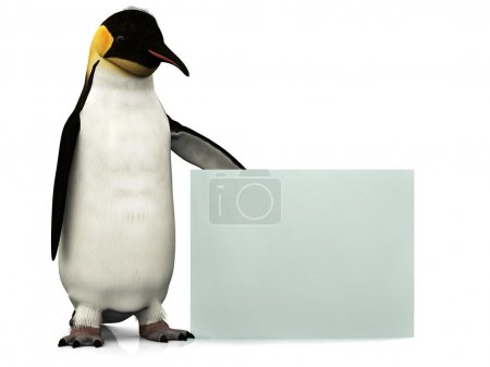 Photo for An emperor penguin holding a blank sign. - Royalty Free Image