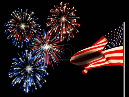 Photo for Fireworks on the 4th of july and the american flag. - Royalty Free Image