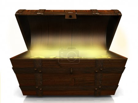 Photo for An old wooden treasure chest filled with gold coins on white background. - Royalty Free Image