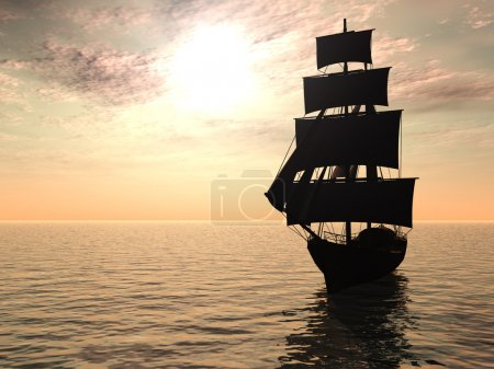 An old merchant ship out at sea an early morning....