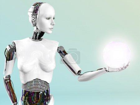 Photo pour Une femme robot tenant une sphère rougeoyante d'énergie ou de la lumière dans sa main. - image libre de droit