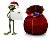 Kreslený žabák santa klobouk a držení prázdný znak