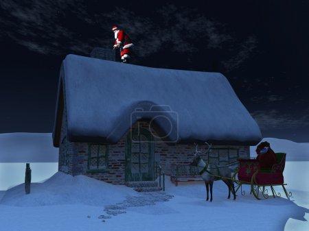 Photo pour Père Noël sur le toit, prêt à descendre de la cheminée une nuit étoilée. ses rennes et le traîneau en attente sur le sol devant la neige couverts maison. - image libre de droit