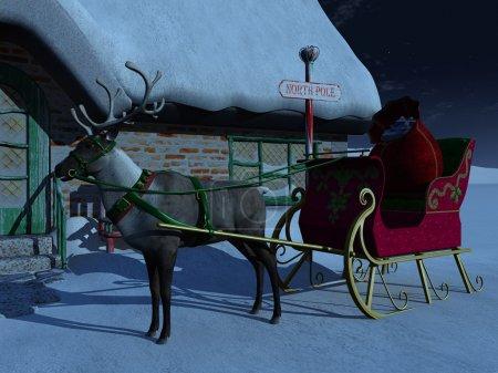 Photo pour Un renne avec traîneau qui attend devant la maison du Père Noël une nuit étoilée. Il y a un grand sac de cadeaux de Noël dans le traîneau . - image libre de droit