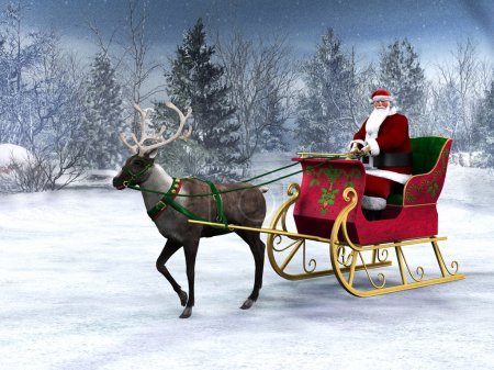Photo for A reindeer pulling a sleigh with Santa Claus in it. The background is a beautiful snowy winter forest. - Royalty Free Image