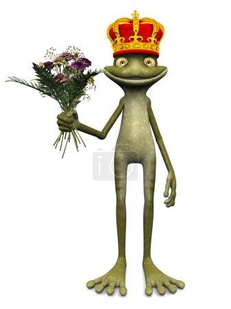 Photo pour Une charmante grenouille de dessin animé avec une couronne de prince sur la tête et un bouquet de fleurs à la main. Fond blanc . - image libre de droit