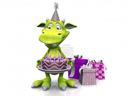 Photo pour Un monstre de dessin animé mignon et sympathique tenant un gâteau d'anniversaire. Trois cadeaux sont sur le sol à côté de lui. Le monstre est vert et porte un chapeau de fête. Backgr blanc - image libre de droit