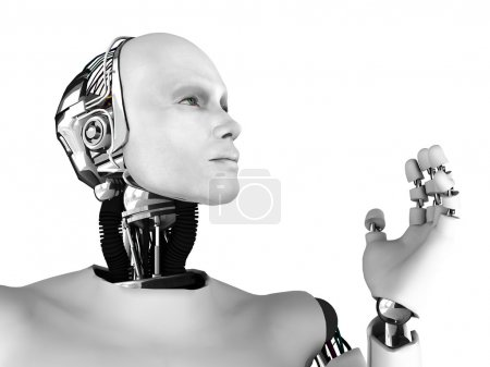 Photo for The profile of a male robot gazing into the future. Isolated on white background. - Royalty Free Image