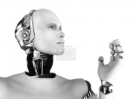 Photo pour Le profil d'un robot mâle, regardant vers l'avenir. isolé sur fond blanc. - image libre de droit