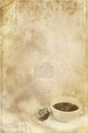 Photo for Textured paper background with steaming cup of coffee in lower corner and copy space. - Royalty Free Image