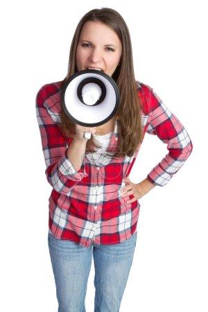 Photo for Beautiful isolated girl holding megaphone - Royalty Free Image