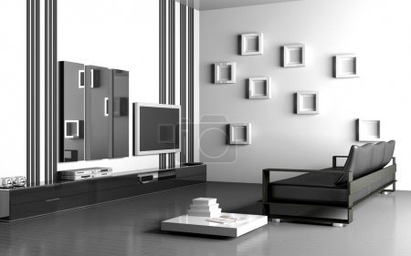Modern interior of the living room 3D