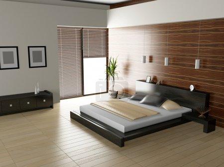 Photo pour Intérieur moderne d'une chambre à coucher 3D - image libre de droit