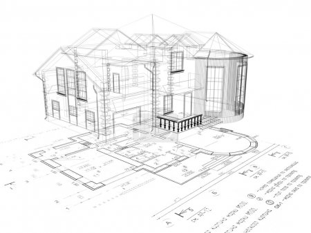 The house 3D image on the plan