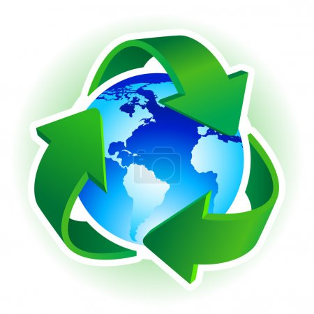 Illustration for Recycle Symbol with blue Earth on white background. Vector illustration. - Royalty Free Image