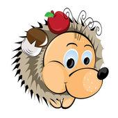Hedgehog with apple and mushroom