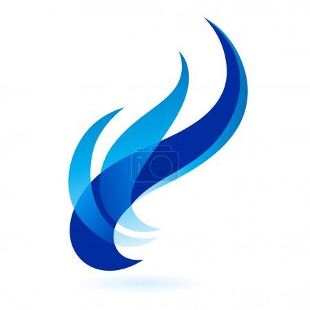 Illustration pour Cadres de feu décorés bleus isolés sur un fond blanc. - image libre de droit