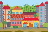 City cartoon seamless pattern