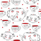Seamless pattern with tea pots