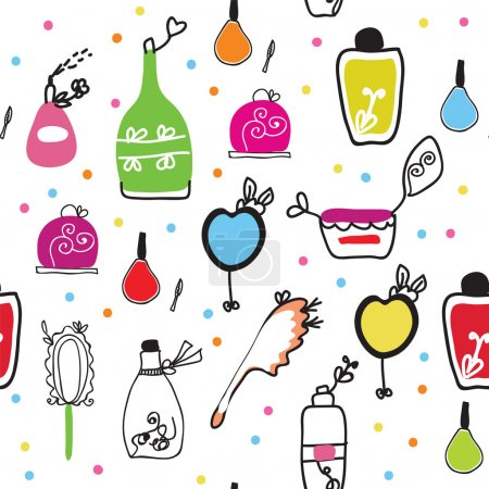 Seamless funny pattern with cosmetics