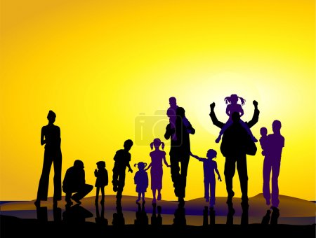 Illustration for Families and sundown - Royalty Free Image