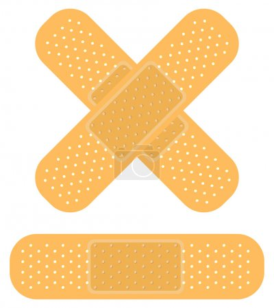 Illustration for Band-aid on white, apply a plaster - Royalty Free Image