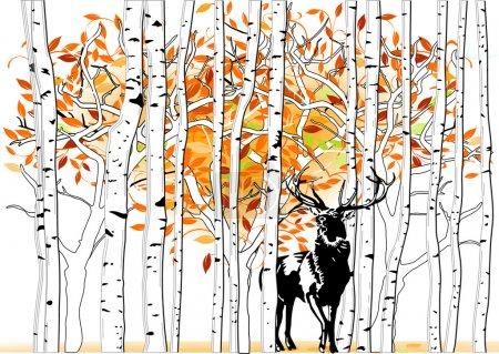 Illustration pour Cerfs en forêt profonde - image libre de droit