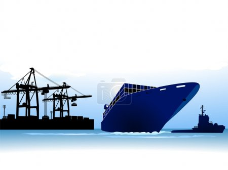 Illustration for Container ship to call at a port - Royalty Free Image
