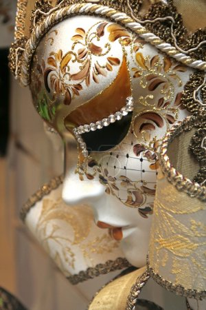 White mask from Venice, with paintings and crystals