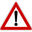 Red traffic triangle warning sign, isolated on whi...