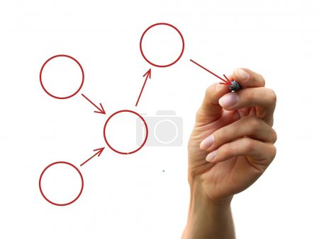 Photo for A human hand drawing a process diagram - Royalty Free Image
