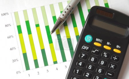 Photo for Closeup of a business chart with pen and calculator - Royalty Free Image