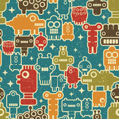 Robot and monsters seamless pattern on blue