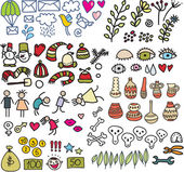 Many cute doodle images in vector