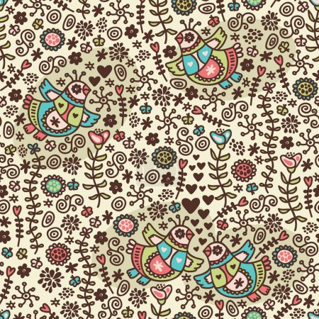 Seamless pattern with romantic birds in folk style.
