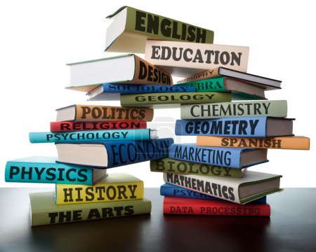 Photo for School books on a stack educational textbooks wih text education leads to knowledge - Royalty Free Image