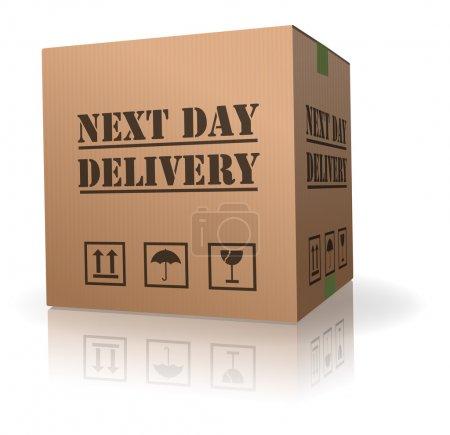 Photo pour Lendemain expédition de paquet urgent livraison livrer commande envoi de boîte en carton - image libre de droit