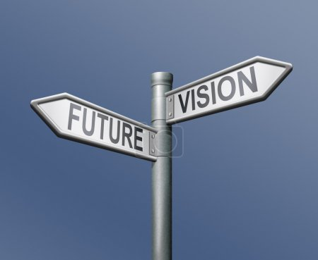 Photo for Future vision road sign on blue background - Royalty Free Image