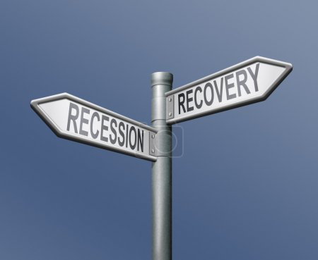 Photo for Recession recovery road sign arrow on blue background - Royalty Free Image