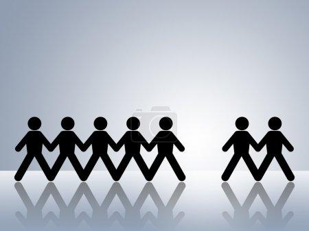 Photo pour Figures de chaîne de papier avec un homme manquant laissant un espace pour être rempli par le nouvel employeur ou l'équipe membre poste vacant - image libre de droit