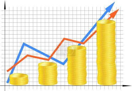 Financial graph with coins. Vector.