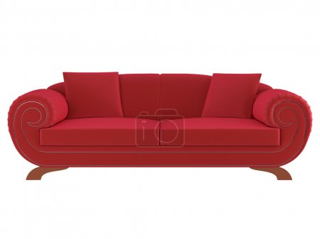 Classic red sofa isolated