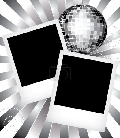 Illustration for Vintage photo frames vector illustration templates with disco ball - Royalty Free Image