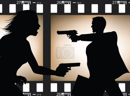 Illustration for Two actor silhouettes in action with filmstrip background - Royalty Free Image