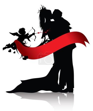 Illustration pour Silhouettes de couple et de Cupidon avec bannière rouge isolé sur fond blanc. Vous pouvez trouver des images similaires dans le portefeuille - image libre de droit