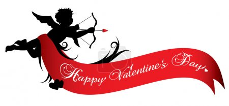 Illustration pour Silhouette de Cupidon avec ruban rouge isolé sur fond blanc - image libre de droit
